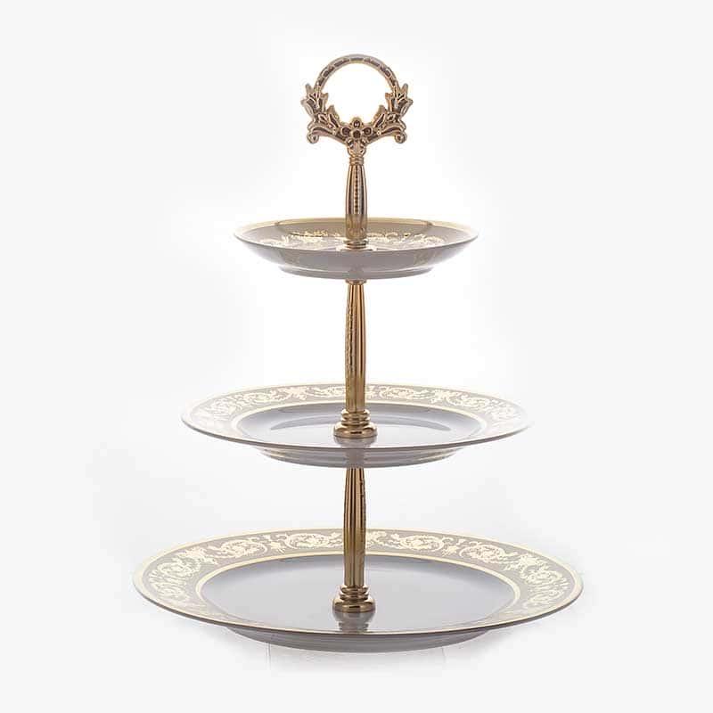 Александрия Крем/золото Горка тройная Bavarian Porcelain