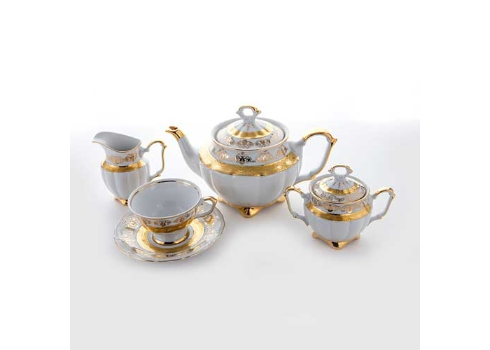 Лист белый Золото Сервиз чайный Bavarian на 6 перс. 15 пред.