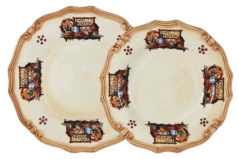 Садовые цветы Набор тарелок: суповая + обеденная LCS из Италии
