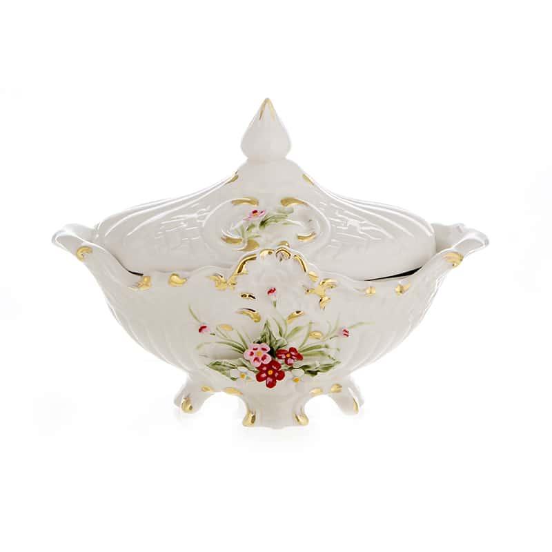 Стелла Ладья из керамики 21x34 см. с крышкой