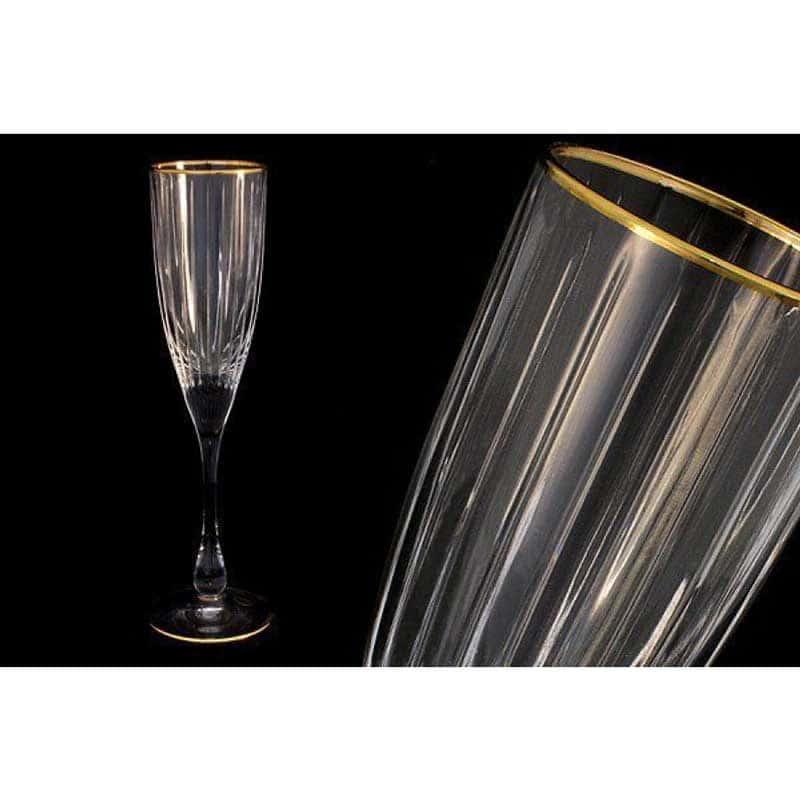 Пиза золото 6 бокалов для шампанского Same Decorazione Италия в подарочной упаковке