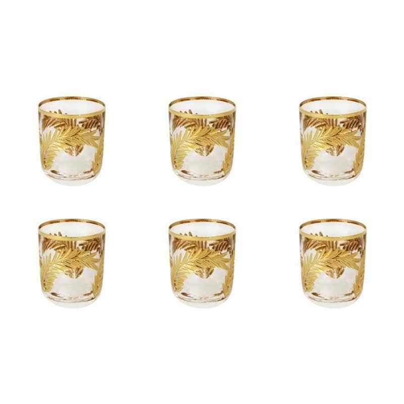 Золотая ветвь Набор из 6 хрустальных стопок для водки Same Decorazione из Италии