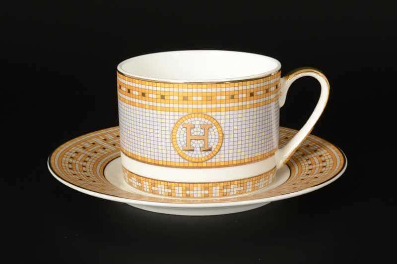 Серая клетка с золотом Набор чайных фарфоровых пар Royal Classics