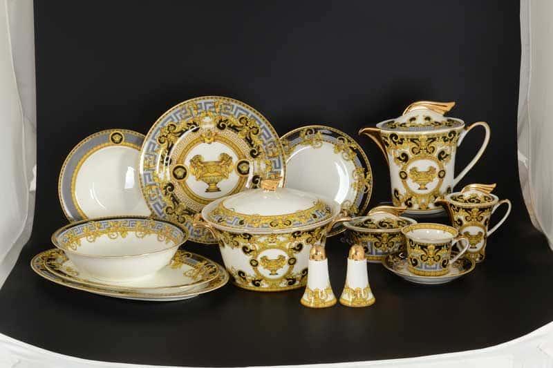 Египетские узоры Черный Столово-чайный сервиз Royal Classics на 6 персон 42 предмета