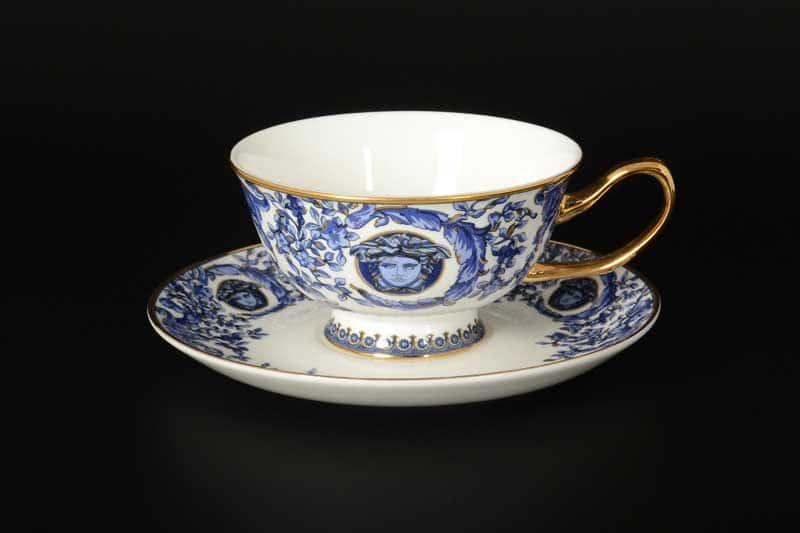 Синие цветы Медуза Набор чайных фарфоровых пар Royal Classics