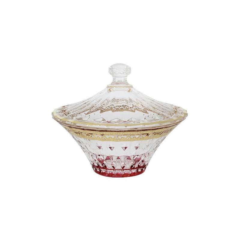 Цветная Флоренция Конфетница с крышкой красная Same Decorazione из Италии 14 см.