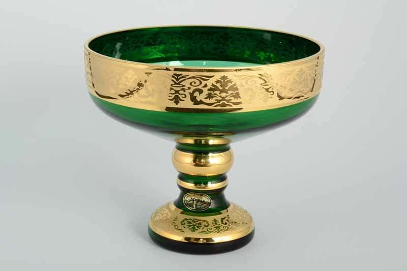 И-В Лепка зеленая Ирка Конфетница на ножке Bohemia 16 см
