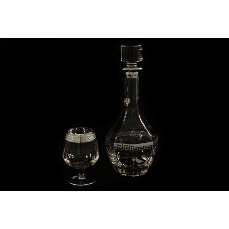 Версаче серебро Набор: штоф (1,0 л) + 6 бокалов для коньяка (0,275 л) Same Decorazione из Италии