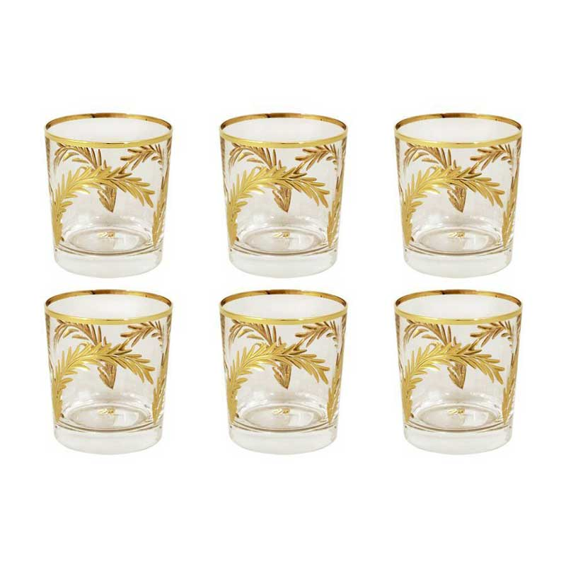 Золотая ветвь Набор из 6 хрустальных стаканов для виски Same Decorazione из Италии