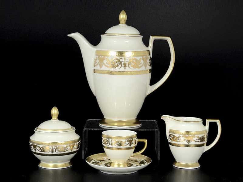 Constanza Cream Imperial Gold Кофейный сервиз Falken на 6 персон 17 предметов