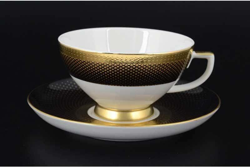 Rio black gold Набор чайных пар FalkenPorzellan 250 мл (6 пар)