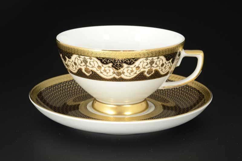 Belvedere Combi BLACK Gold Набор чайных пар Falken 220 мл (6 пар)