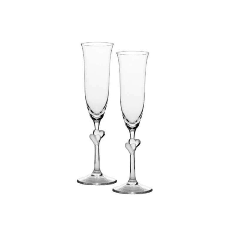 Amour Набор из 2 бокалов для шампанского (белые сердца) Штольцле (Stolzle) из Германии