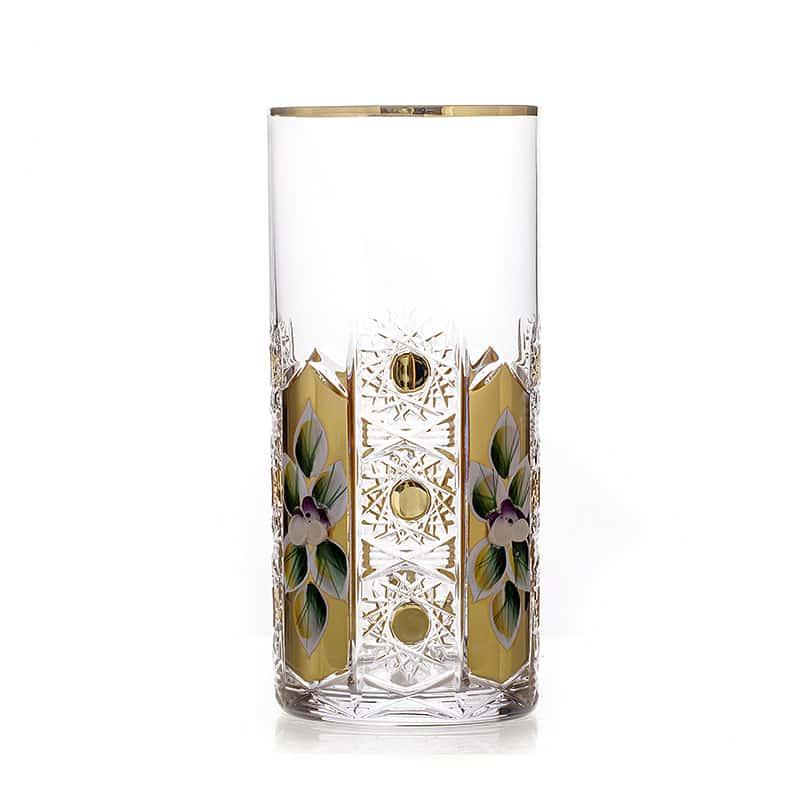 Хрусталь с золотом Набор стаканов для воды Glasspo 350 мл. 6 шт.