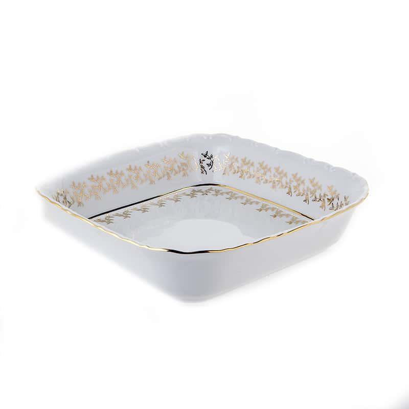 Лист белый Салатник квадратный Bavarian Porcelain 24 см.