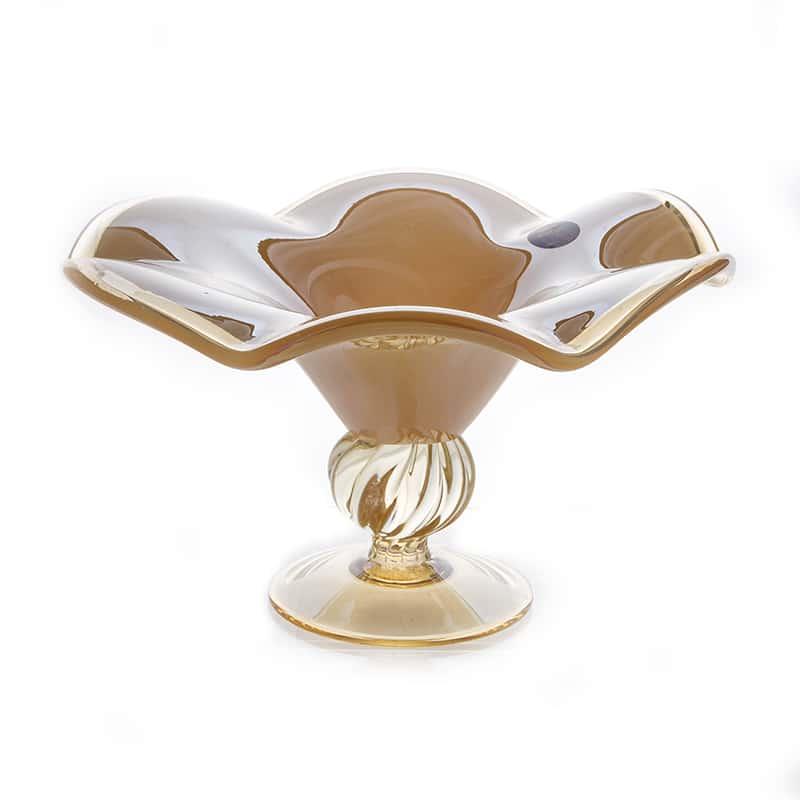 Вайт Кристал Ваза для фруктов из муранского стекла 30 см