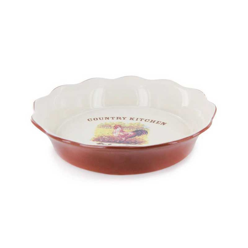Деревенское утро Круглое блюдо для выпечки Terracotta Китай в подарочной упаковке