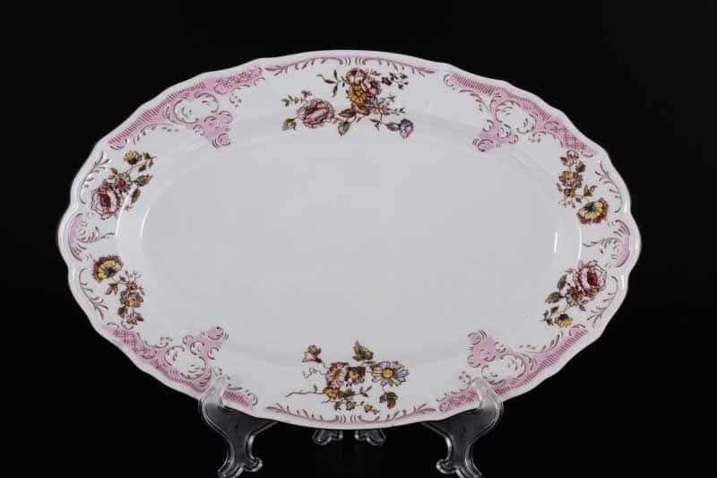 Бернадотт Розовый цветок 25058 Блюдо овальное 36 см