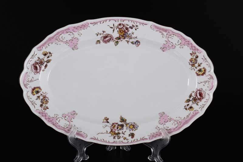 Бернадотт Розовый цветок 25058 Блюдо овальное 26 см