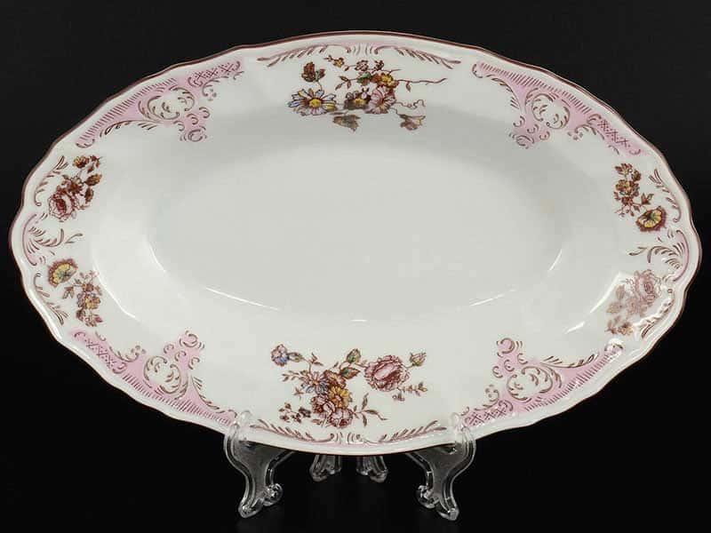 Бернадотт Розовый цветок 25058 Блюдо овальное 24 см