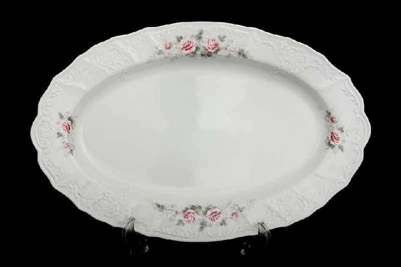 Бернадотт Серая роза платина 96021 Блюдо овальное 34 см 17404