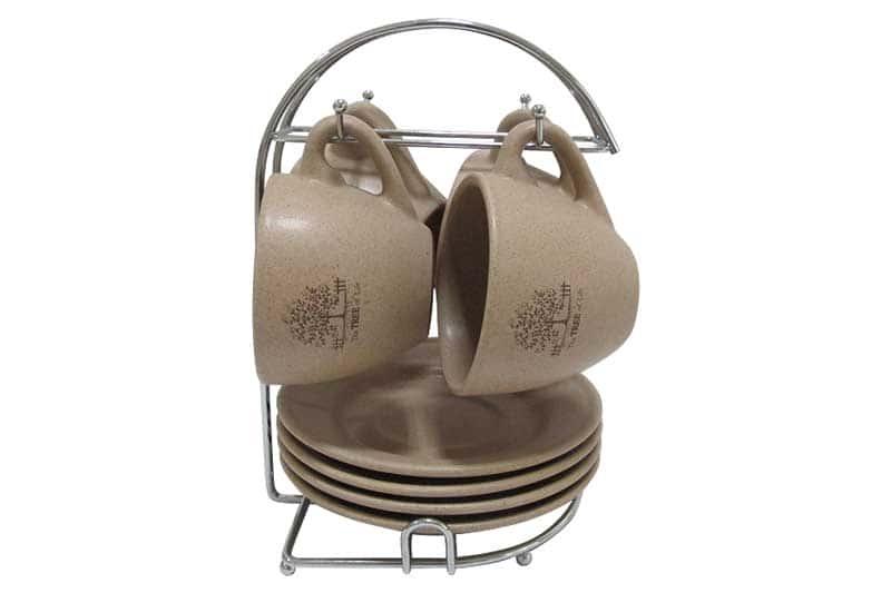 Дерево жизни Набор: 4 чашки + 4 блюдца на металлической подставке Terracotta Китай