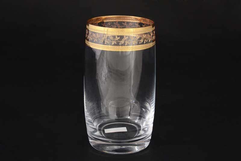 Анжела Золотой лист V-D Набор стаканов для воды Bohemia Crystal 380 мл (6 шт)