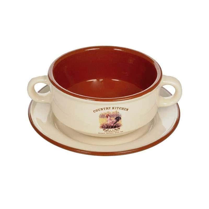 Деревенское утро Суповая чашка на блюдце Terracotta Китай в подарочной упаковке