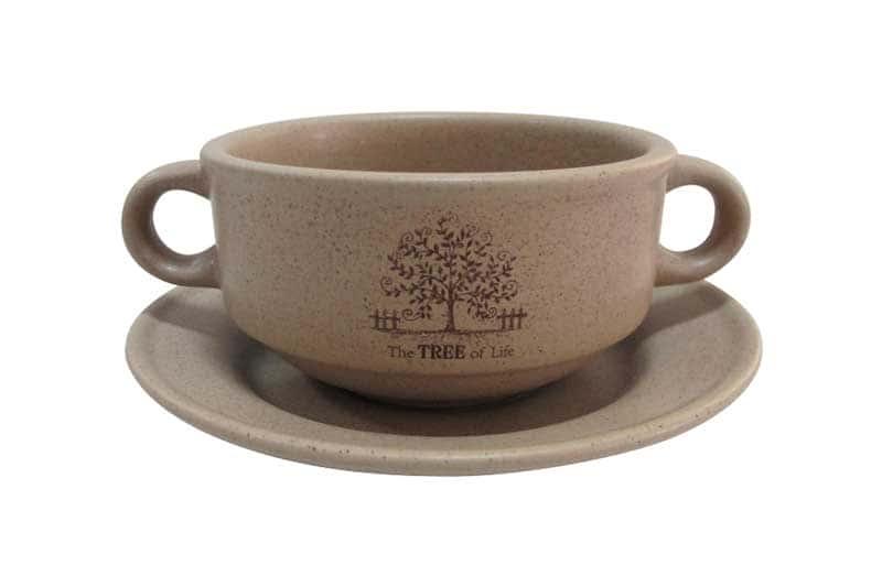Дерево жизни Суповая чашка на блюдце Terracotta из Китая 0,3 л.