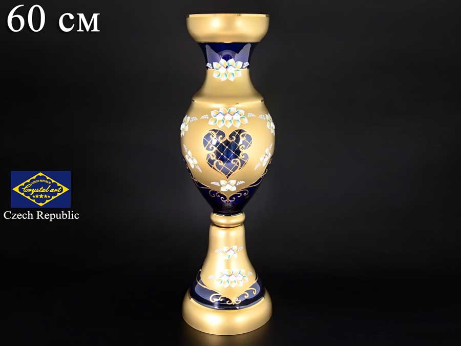 Синяя NB-Arte Ваза для цветов на ножке Crystal Art 60 см