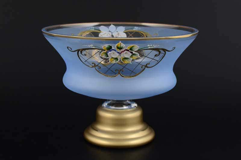 Синяя NB-Arte Конфетница 21 см на ножке Crystal Art