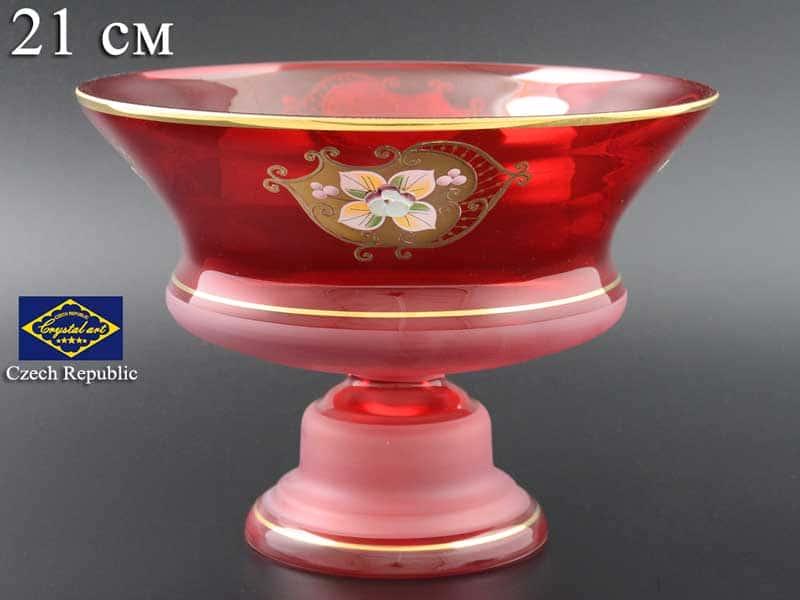 Красная NB-Arte Конфетница 21 см на ножке Crystal Art