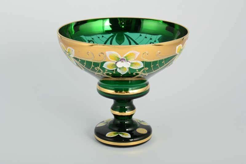 Star Crystal Лепка Зеленая Конфетница Bohemia Max 13 см на ножке