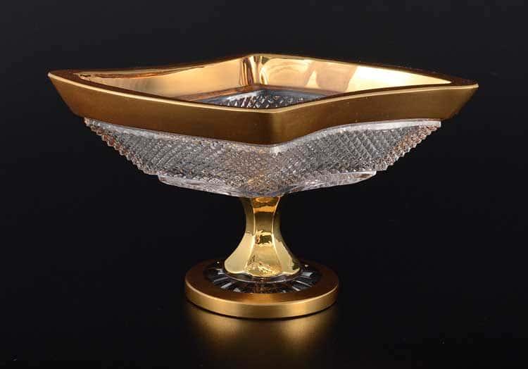 Felicia Конфетница 20 см на ножке Sonne Crystal Золото