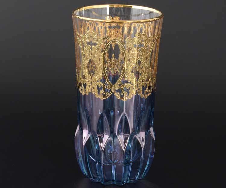 TIMON синий Набор стаканов для воды из хрусталя Италия