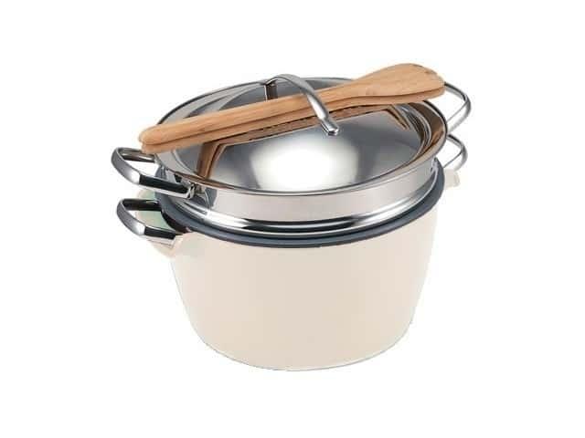 Hot Pot (Хот Пот) Набор посуды с керамическим покрытием белая миска с кастрюлей водяная баня Green Pan 22 см.