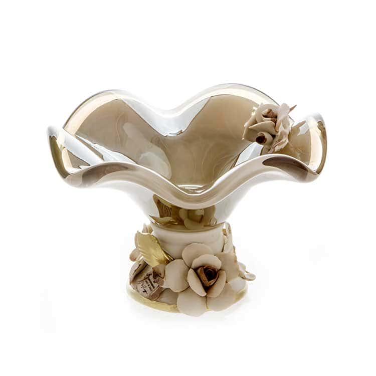 Уайт Кристал Ваза для конфет из муранского стекла Италия