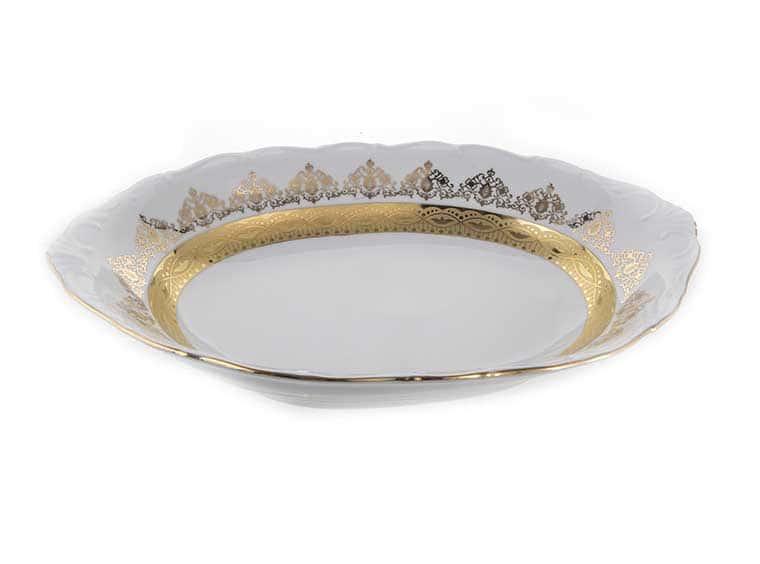 Лист белый Золото Хлебница Bavarian Porcelain