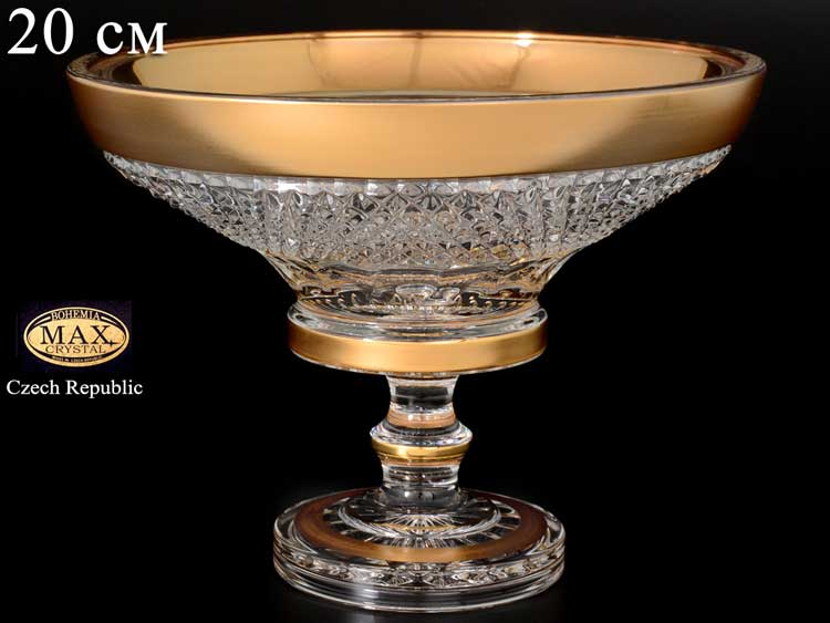 Фелиция Конфетница на ножке Max Crystal Золото 20 см