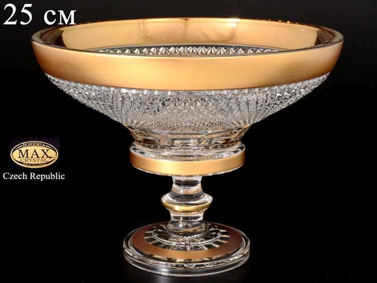 Фелиция Max Crystal Золото Конфетница на ножке 25 см