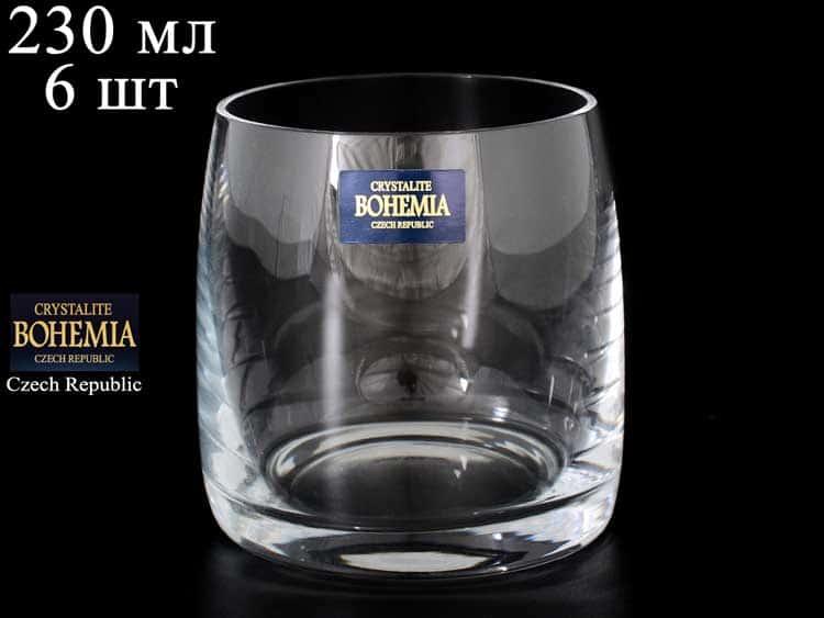 Идеал без декора Набор стаканов для виски Crystalite 230 мл (6 шт)