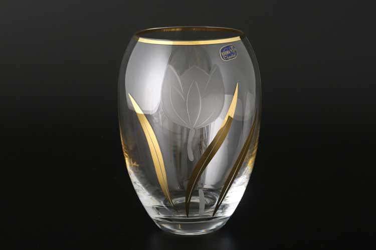 Матовый тюльпан Кристалекс 27543 Ваза для цветов Bohemia Crystal 18 см