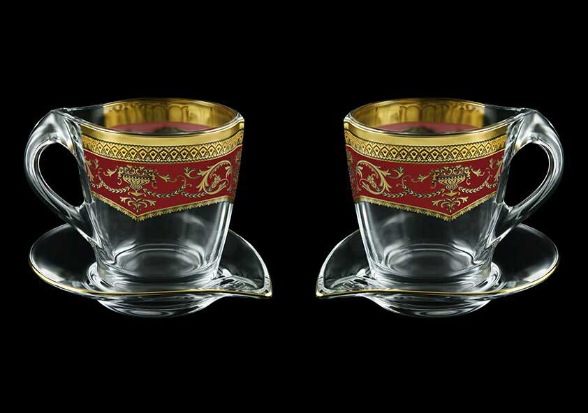 Версаче Глава Лаура красная Набор чайных пар 2 чашки + 2 блюдца 4 пр Astra Gold