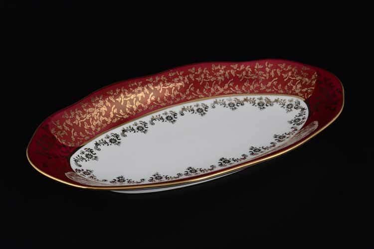 Красная паутинка б/т AL Блюдо овальное Royal Porcelain 26 см