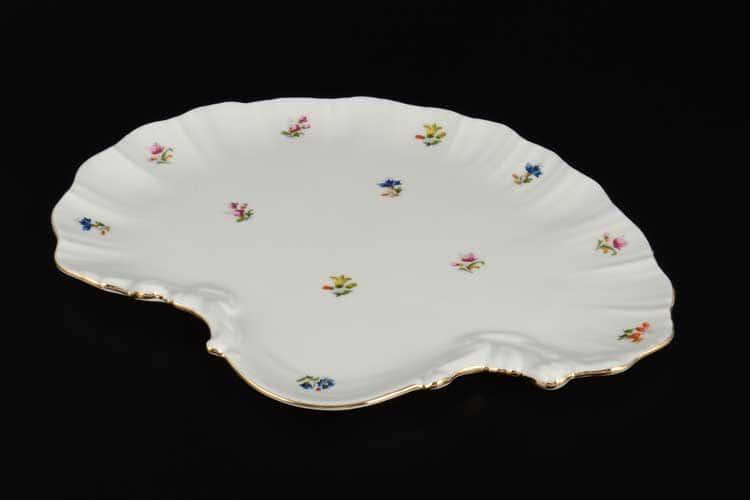 Мелкие цветы отводка золото Корона Блюдо ракушка  28 см  QC