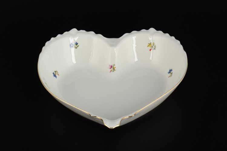 Мелкие цветы отводка золото Корона Конфетница сердце QC 22 см