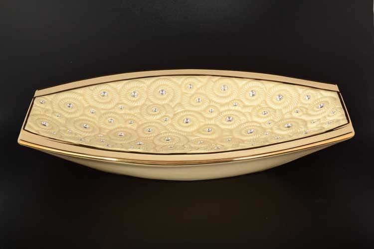 Fossil Фруктовница Bruno Costenaro кремовая с золотом с кристаллами 50*32*8h см