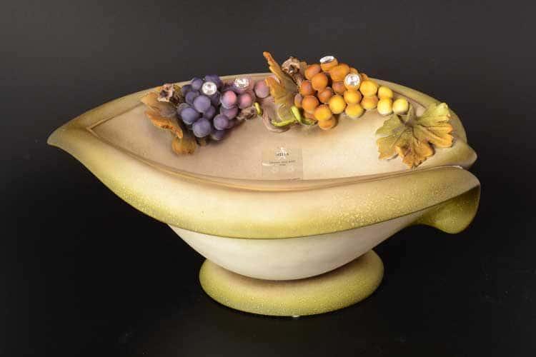 Виноград натуральный Фруктовница Stella с кристаллами Сваровски d-36, h-15 см