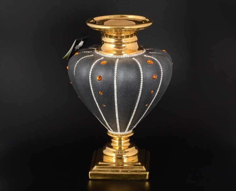 Сирийский антрацит Ваза Stella с золотом с кристаллами Сваровски d-24, h-40 см