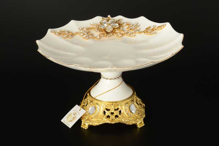 Ваза для фруктов Royal Classics 30 см с золотом и камнями